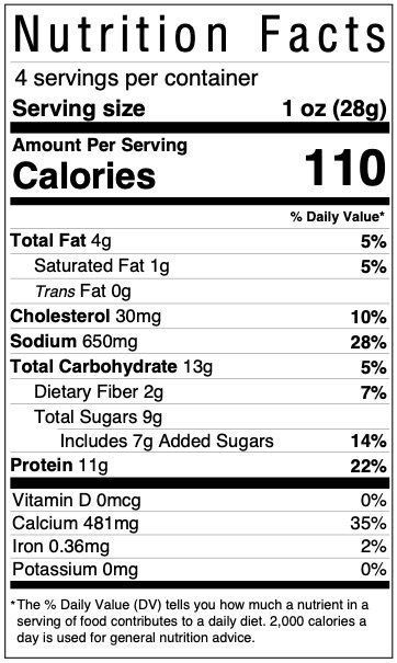 Big Country Smokehouse Ring of Fire beef jerky nutrition facts label