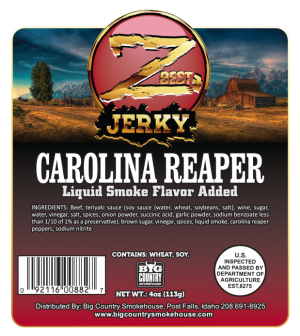 4oz Carolina Reaper beef jerky label - front