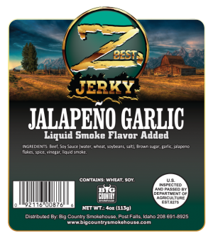 4oz Jalapeno Garlic beef jerky label - front